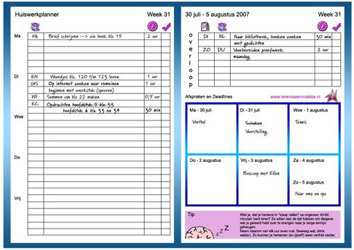 huiswerkplanner maken